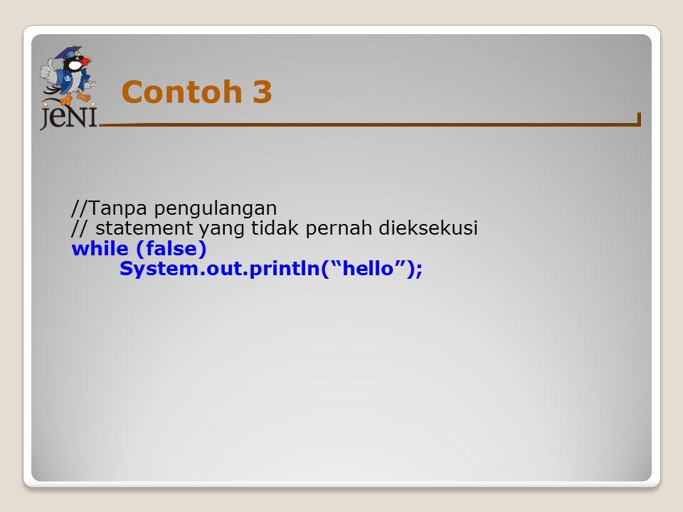 Contoh 3 //Tanpa pengulangan // statement yang tidak pernah dieksekusi while (false) System.out.println( hello );