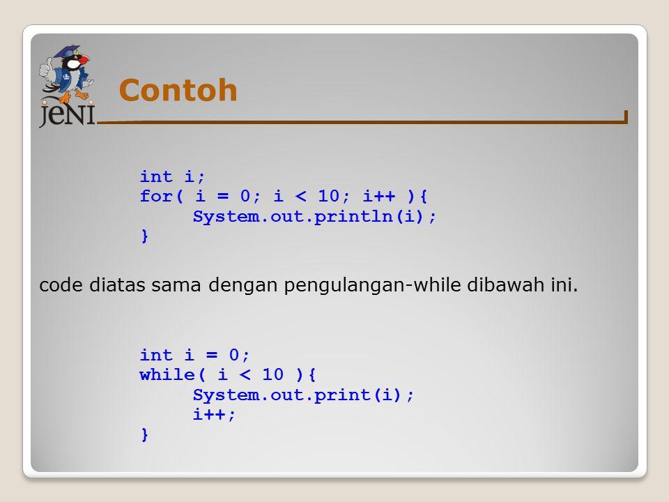 Contoh code diatas sama dengan pengulangan-while dibawah ini.