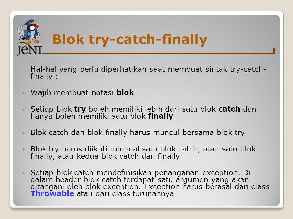 Blok try-catch-finally Hal-hal yang perlu diperhatikan saat membuat sintak try-catch- finally : Wajib membuat notasi blok Setiap blok try boleh memili
