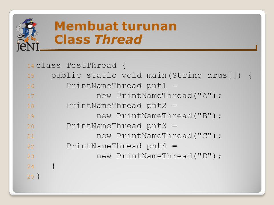14 class TestThread { 15 public static void main(String args[]) { 16 PrintNameThread pnt1 = 17 new PrintNameThread(