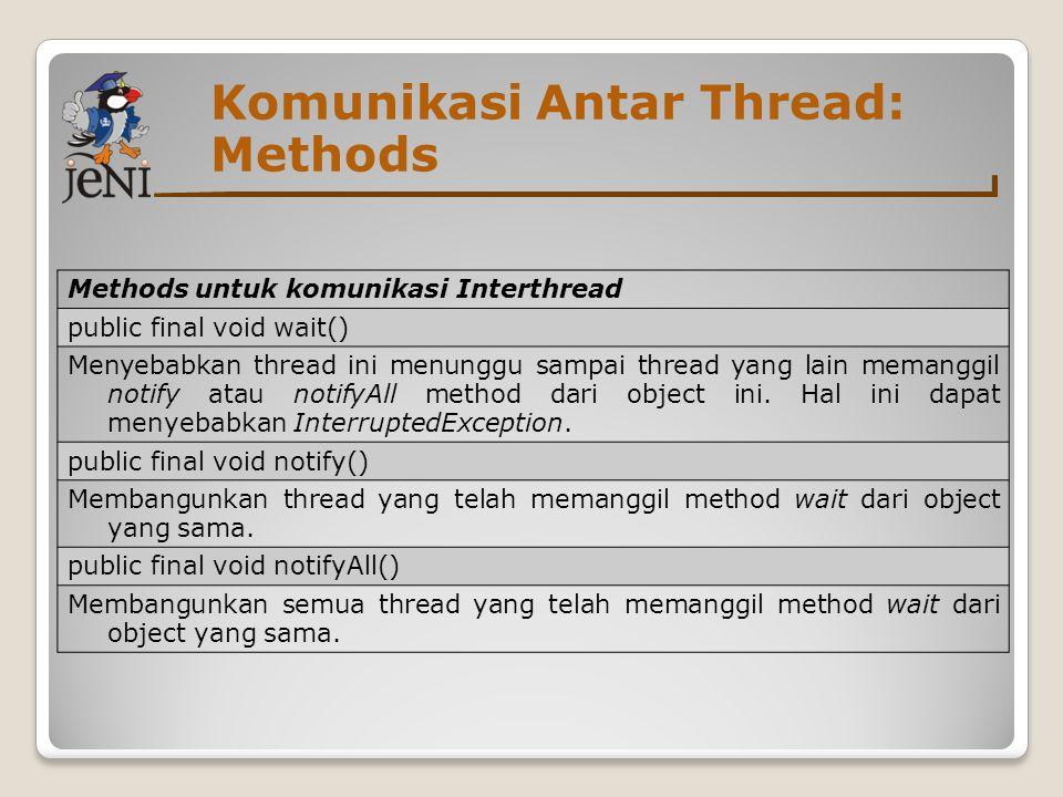 Komunikasi Antar Thread: Methods Methods untuk komunikasi Interthread public final void wait() Menyebabkan thread ini menunggu sampai thread yang lain