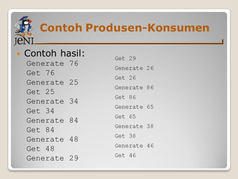 Contoh Produsen-Konsumen Contoh hasil: Generate 76 Get 76 Generate 25 Get 25 Generate 34 Get 34 Generate 84 Get 84 Generate 48 Get 48 Generate 29 Get