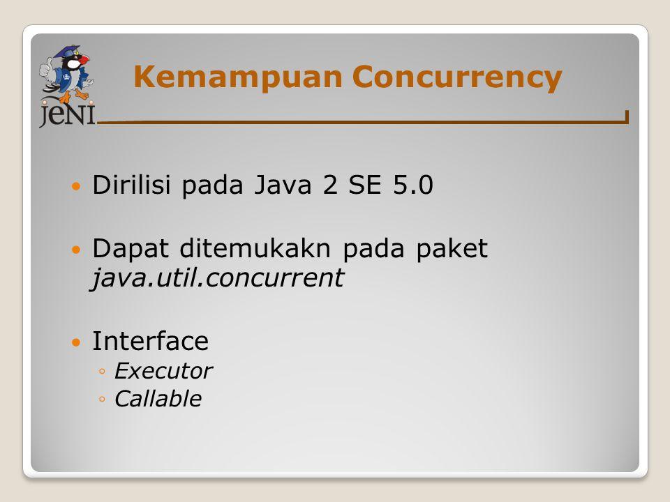 Kemampuan Concurrency Dirilisi pada Java 2 SE 5.0 Dapat ditemukakn pada paket java.util.concurrent Interface ◦Executor ◦Callable