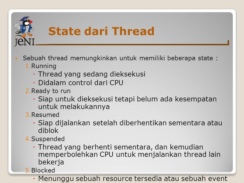 State dari Thread Sebuah thread memungkinkan untuk memiliki beberapa state : 1.Running  Thread yang sedang dieksekusi  Didalam control dari CPU 2.Re