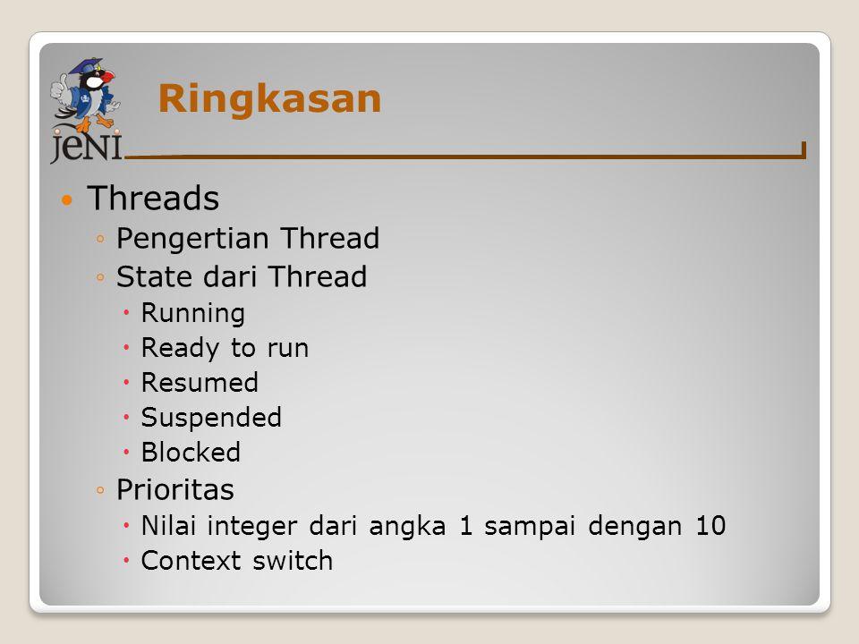 Ringkasan Threads ◦Pengertian Thread ◦State dari Thread  Running  Ready to run  Resumed  Suspended  Blocked ◦Prioritas  Nilai integer dari angka