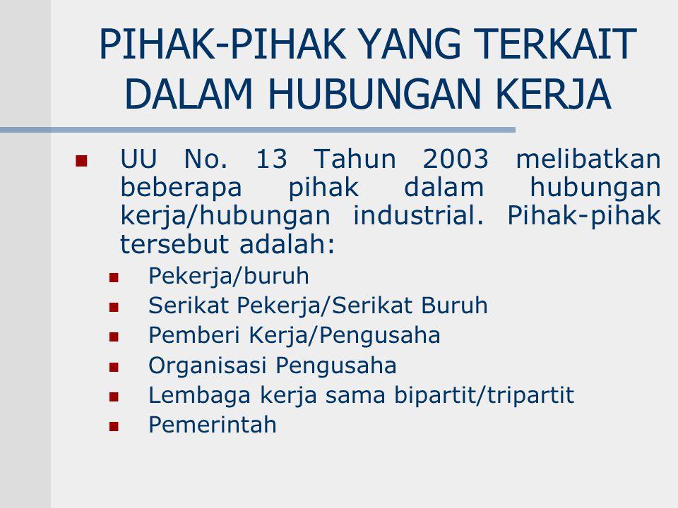 PIHAK-PIHAK YANG TERKAIT DALAM HUBUNGAN KERJA UU No. 13 Tahun 2003 melibatkan beberapa pihak dalam hubungan kerja/hubungan industrial. Pihak-pihak ter