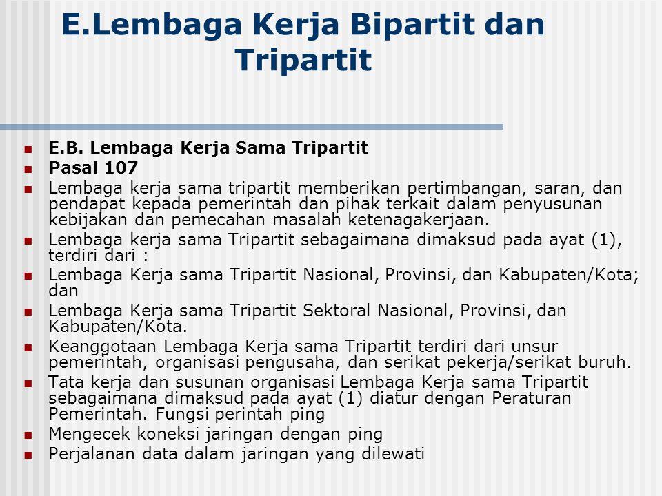 E.Lembaga Kerja Bipartit dan Tripartit E.B. Lembaga Kerja Sama Tripartit Pasal 107 Lembaga kerja sama tripartit memberikan pertimbangan, saran, dan pe