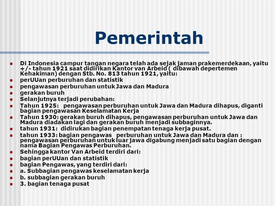 Pemerintah Di Indonesia campur tangan negara telah ada sejak jaman prakemerdekaan, yaitu +/- tahun 1921 saat didirikan Kantor van Arbeid ( dibawah dep