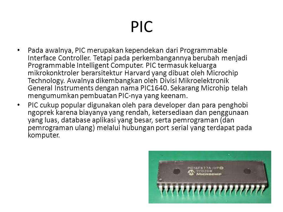 Pada awalnya, PIC merupakan kependekan dari Programmable Interface Controller. Tetapi pada perkembangannya berubah menjadi Programmable Intelligent Co