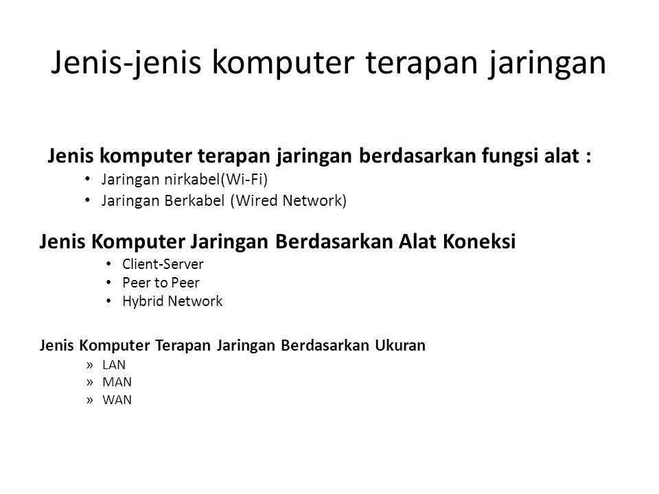 Jenis komputer terapan jaringan berdasarkan fungsi alat : Jaringan nirkabel(Wi-Fi) Jaringan Berkabel (Wired Network) Jenis Komputer Jaringan Berdasark