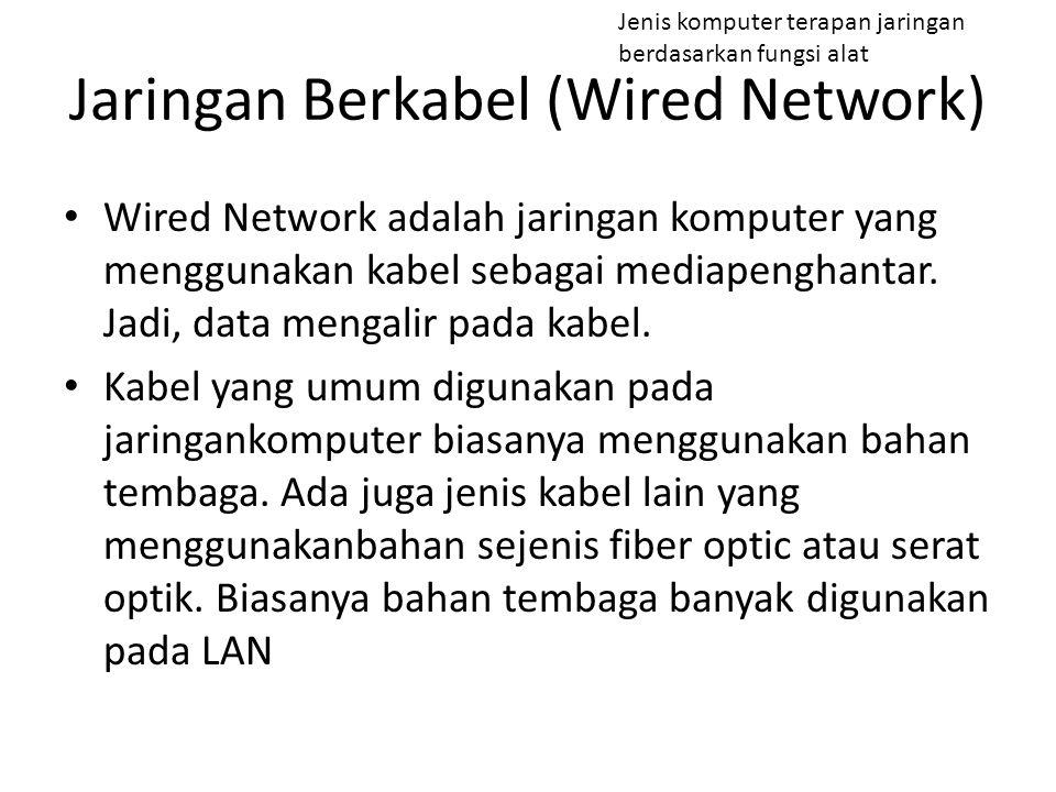 Wired Network adalah jaringan komputer yang menggunakan kabel sebagai mediapenghantar. Jadi, data mengalir pada kabel. Kabel yang umum digunakan pada