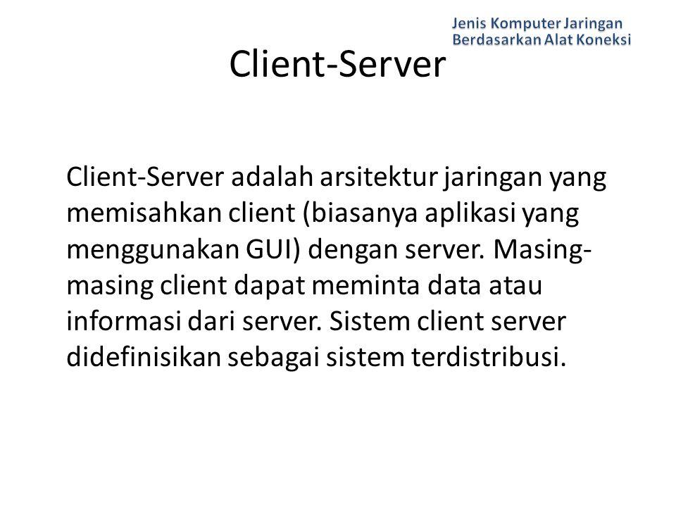 Client-Server adalah arsitektur jaringan yang memisahkan client (biasanya aplikasi yang menggunakan GUI) dengan server. Masing- masing client dapat me