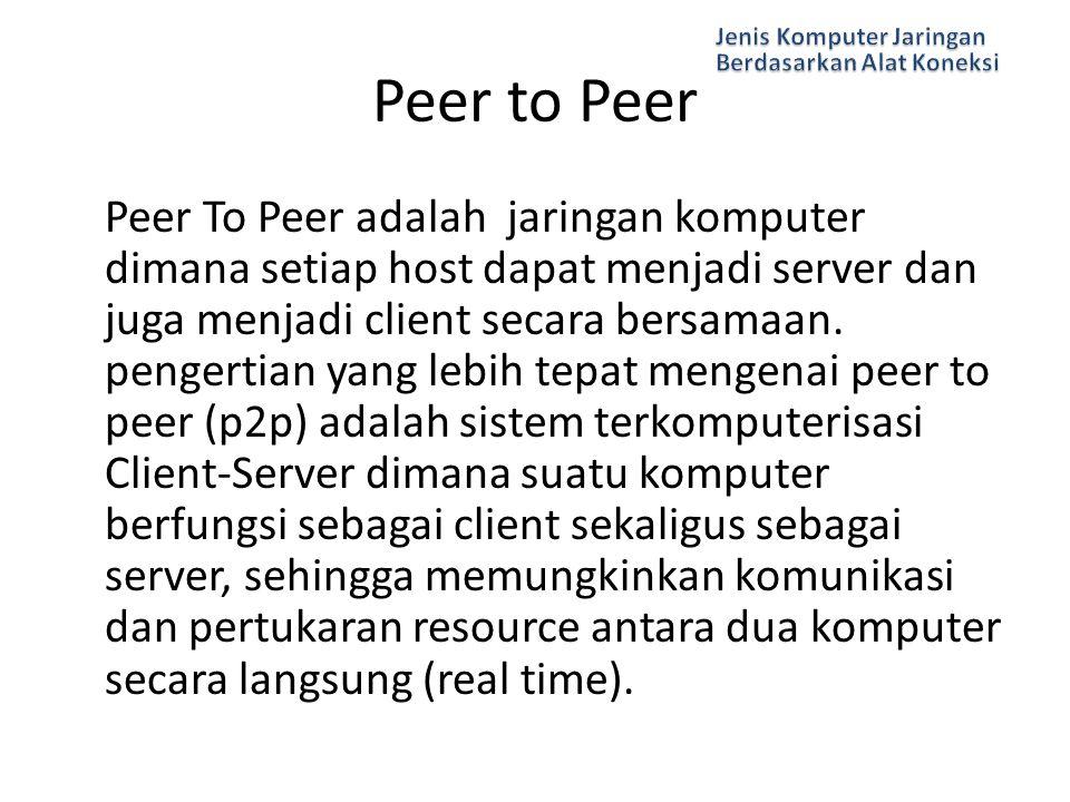 Peer To Peer adalah jaringan komputer dimana setiap host dapat menjadi server dan juga menjadi client secara bersamaan. pengertian yang lebih tepat me