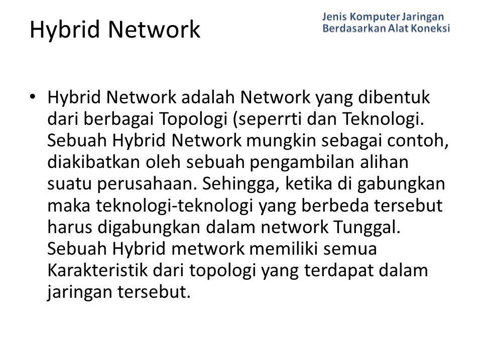 Hybrid Network adalah Network yang dibentuk dari berbagai Topologi (seperrti dan Teknologi. Sebuah Hybrid Network mungkin sebagai contoh, diakibatkan