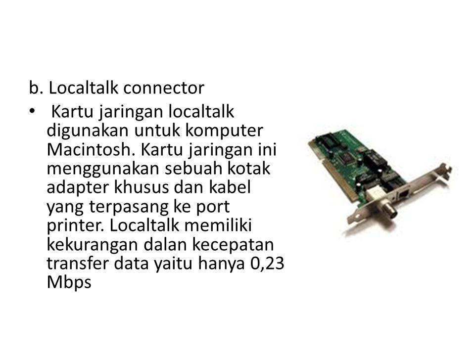 b. Localtalk connector Kartu jaringan localtalk digunakan untuk komputer Macintosh. Kartu jaringan ini menggunakan sebuah kotak adapter khusus dan kab