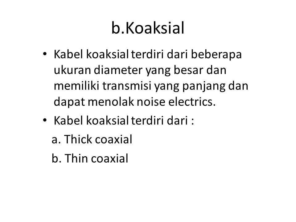 Kabel koaksial terdiri dari beberapa ukuran diameter yang besar dan memiliki transmisi yang panjang dan dapat menolak noise electrics. Kabel koaksial