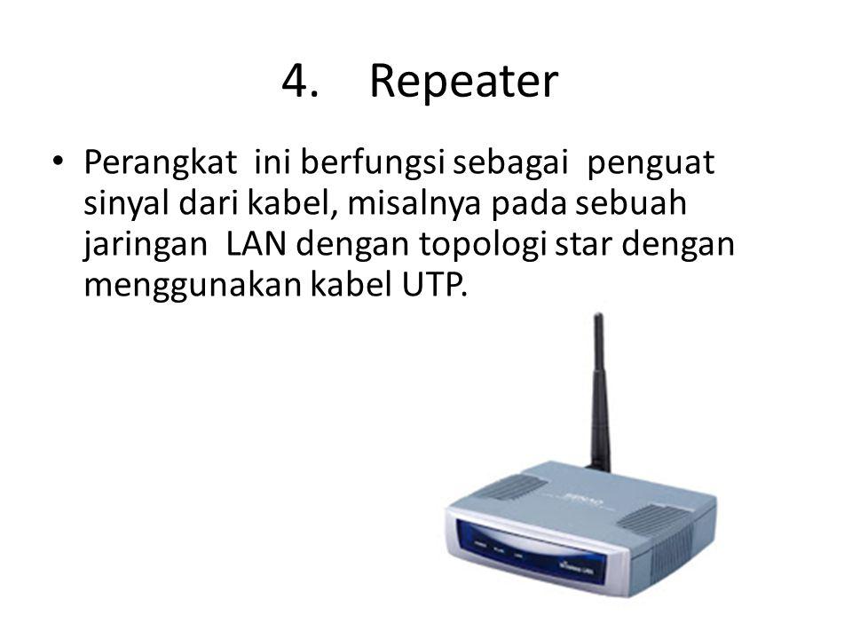 Perangkat ini berfungsi sebagai penguat sinyal dari kabel, misalnya pada sebuah jaringan LAN dengan topologi star dengan menggunakan kabel UTP. 4. Rep