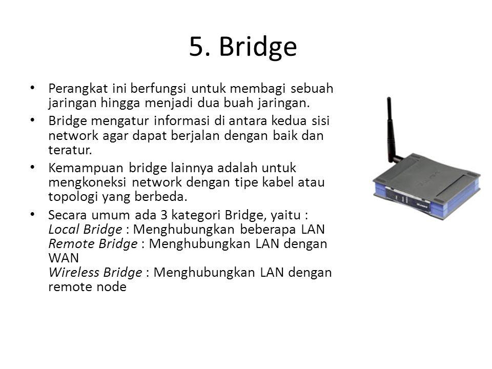 Perangkat ini berfungsi untuk membagi sebuah jaringan hingga menjadi dua buah jaringan. Bridge mengatur informasi di antara kedua sisi network agar da