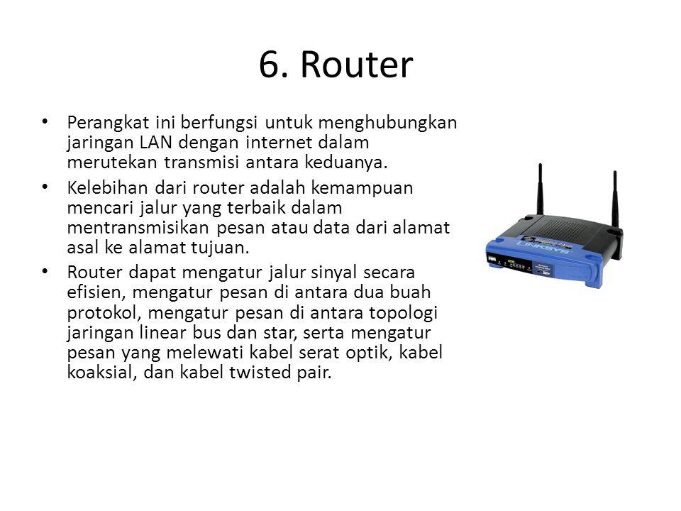 Perangkat ini berfungsi untuk menghubungkan jaringan LAN dengan internet dalam merutekan transmisi antara keduanya. Kelebihan dari router adalah kemam