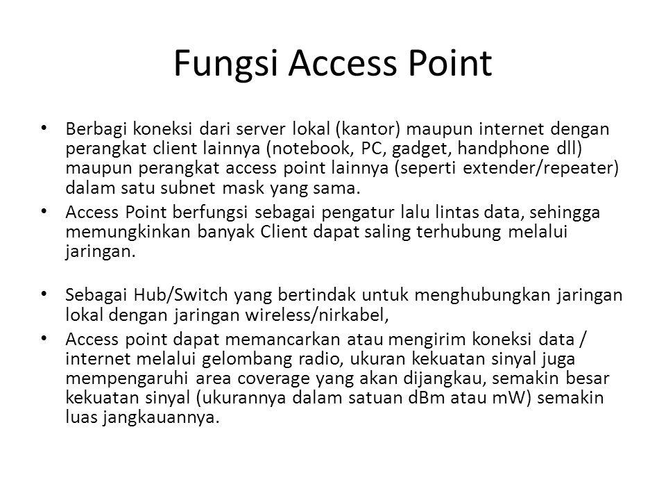 Fungsi Access Point Berbagi koneksi dari server lokal (kantor) maupun internet dengan perangkat client lainnya (notebook, PC, gadget, handphone dll) m