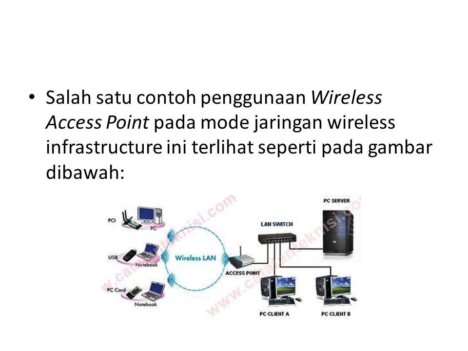 Salah satu contoh penggunaan Wireless Access Point pada mode jaringan wireless infrastructure ini terlihat seperti pada gambar dibawah: