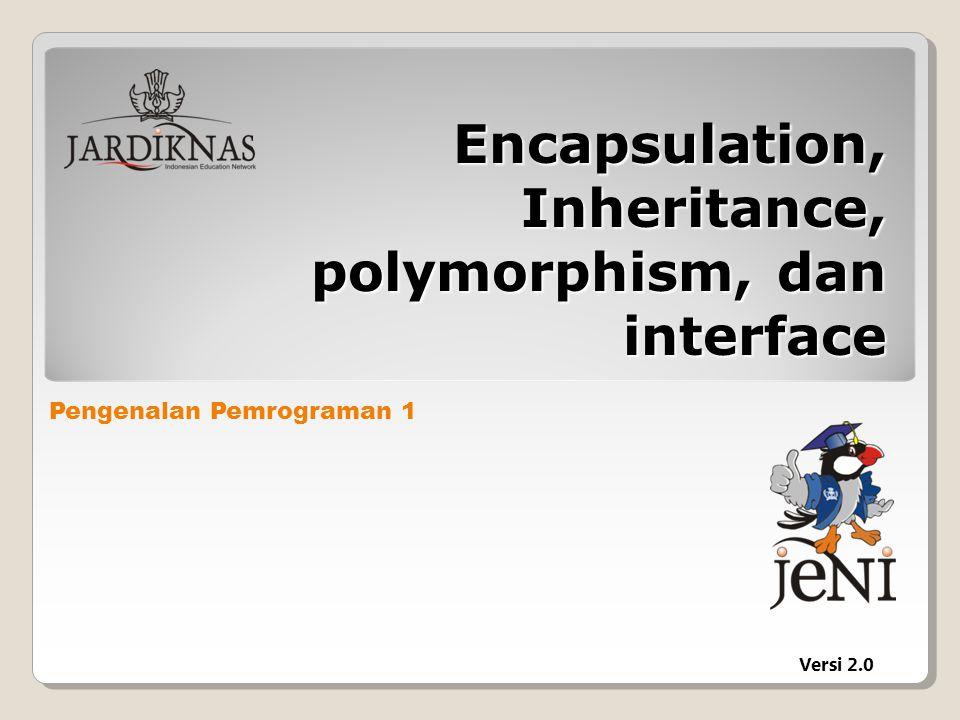 Polymorphism Kemampuan sebuah variabel reference untuk merubah behavior sesuai dengan apa yang dipunyai object.