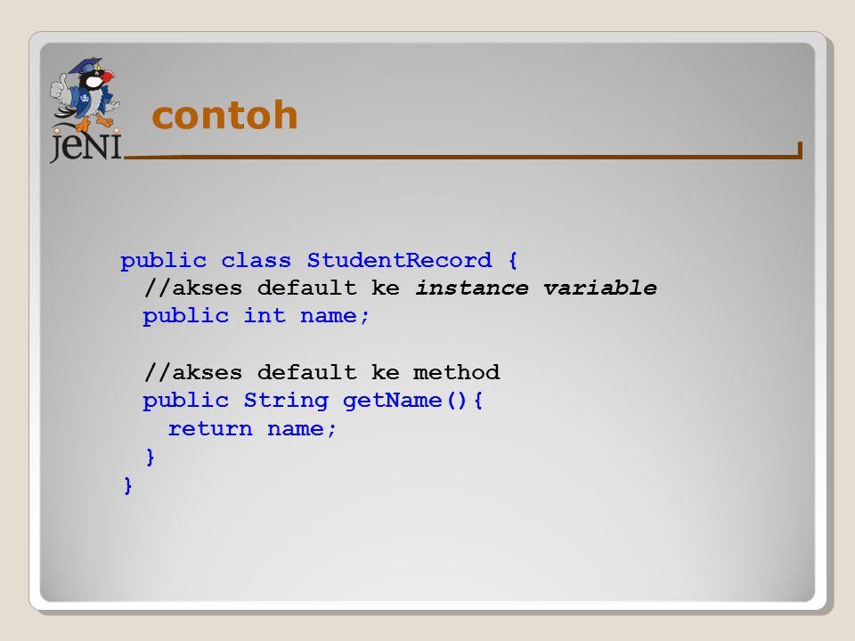Class dan method final Method Final ◦Method yang tidak bisa di-override ◦Untuk mendeklarasikan final method, kita tulis, public final [returnType] [methodName]([parameters]){...