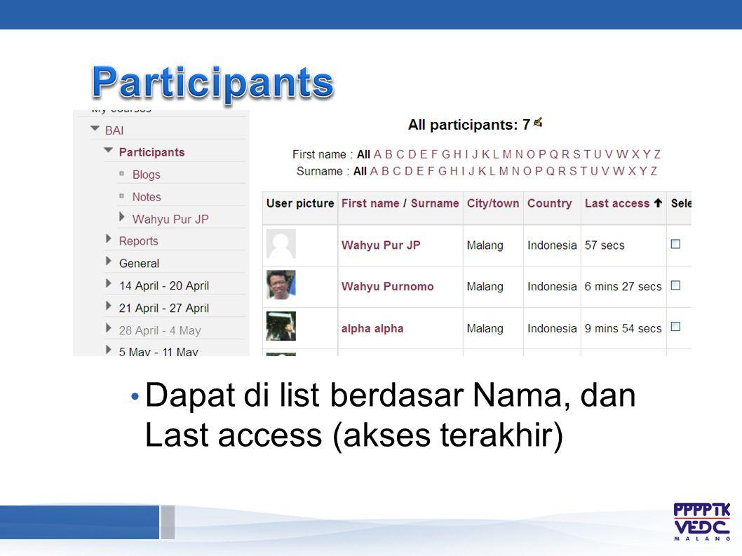 Dapat di list berdasar Nama, dan Last access (akses terakhir)