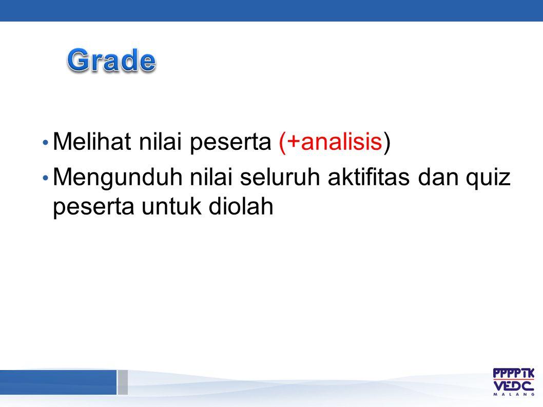 Melihat nilai peserta (+analisis) Mengunduh nilai seluruh aktifitas dan quiz peserta untuk diolah