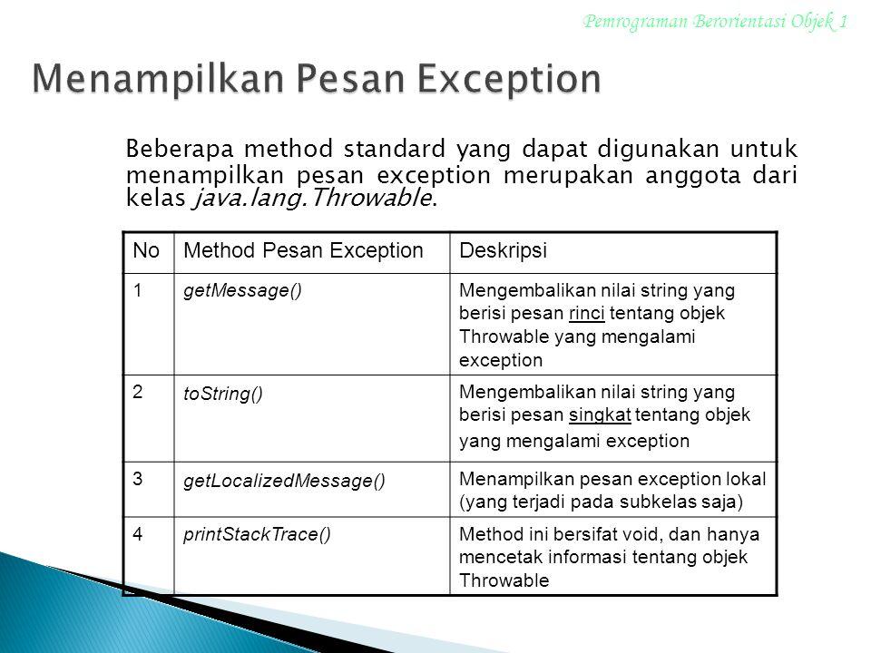 Beberapa method standard yang dapat digunakan untuk menampilkan pesan exception merupakan anggota dari kelas java.lang.Throwable. Pemrograman Berorien