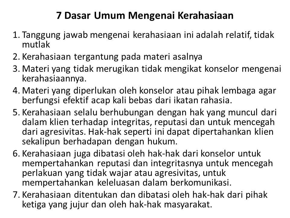 7 Dasar Umum Mengenai Kerahasiaan 1.Tanggung jawab mengenai kerahasiaan ini adalah relatif, tidak mutlak 2.Kerahasiaan tergantung pada materi asalnya