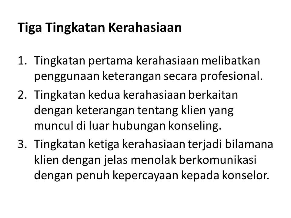 Tiga Tingkatan Kerahasiaan 1.Tingkatan pertama kerahasiaan melibatkan penggunaan keterangan secara profesional. 2.Tingkatan kedua kerahasiaan berkaita