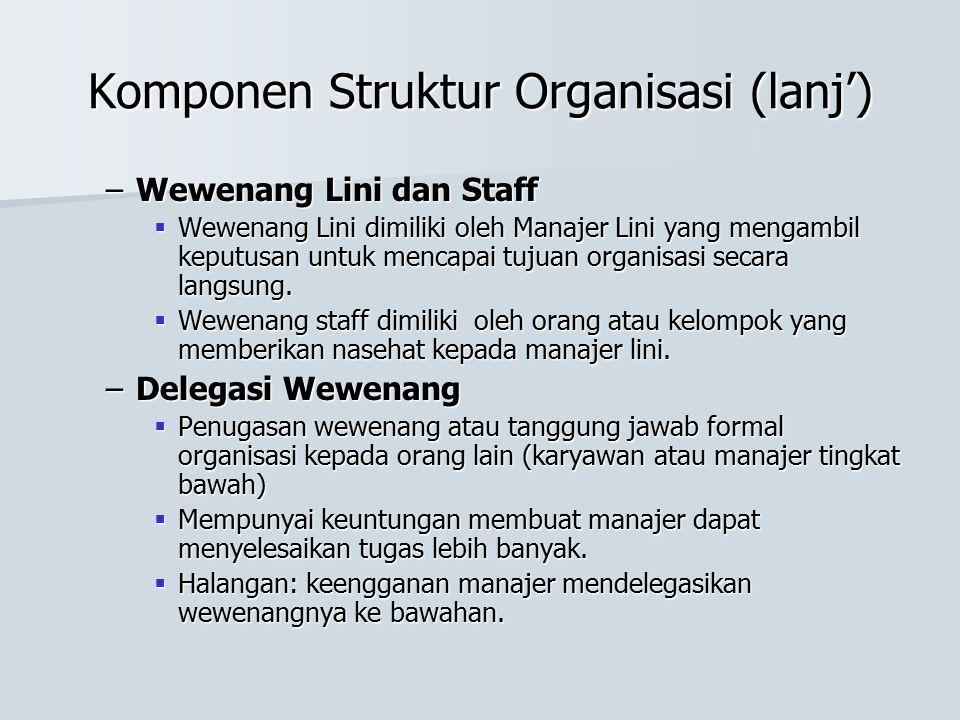 Komponen Struktur Organisasi (lanj') –Wewenang Lini dan Staff  Wewenang Lini dimiliki oleh Manajer Lini yang mengambil keputusan untuk mencapai tujua