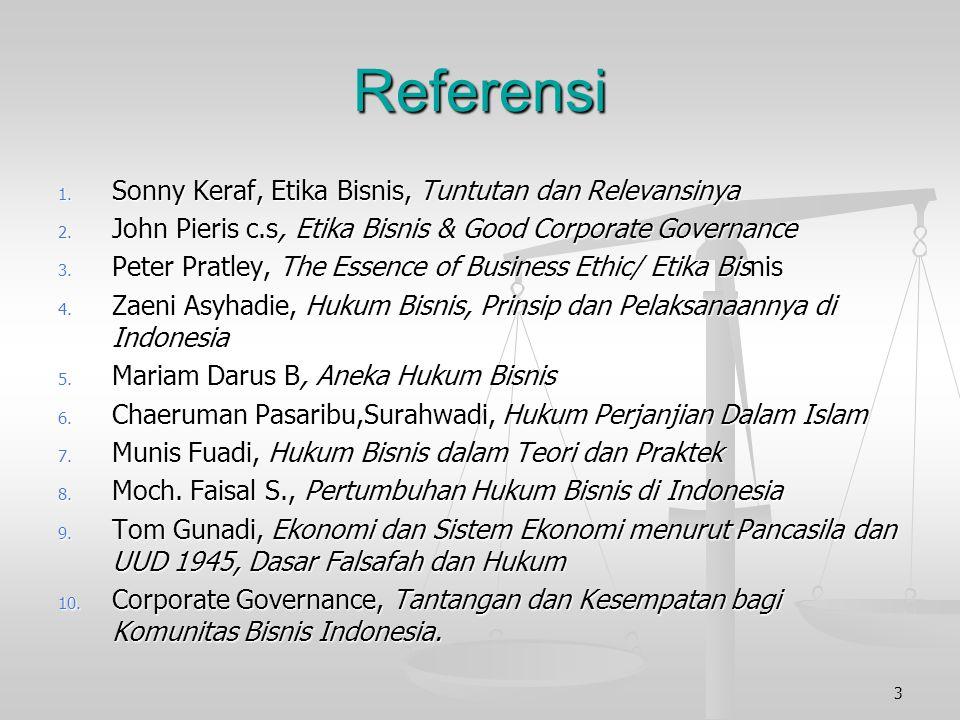 Referensi 1.Sonny Keraf, Etika Bisnis, Tuntutan dan Relevansinya 2.