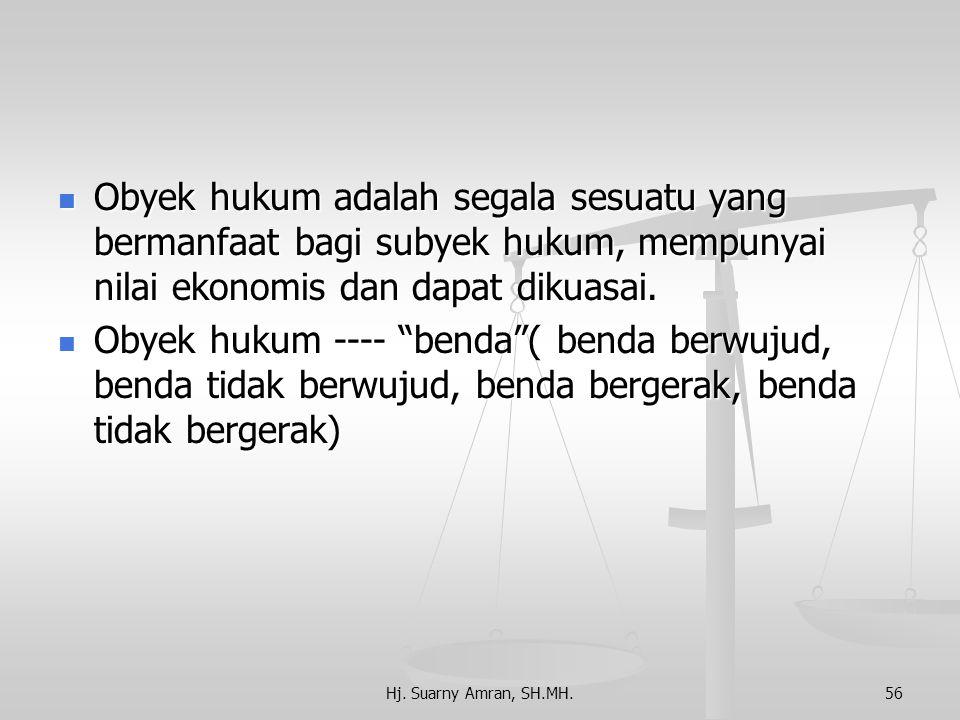 Kuliah ke 3 Subyek dan Obyek Hukum Subyek hukum adalah setiap pendukung hak dan kewajiban/ mempunyai kewenangan hukum. Subyek hukum adalah setiap pend