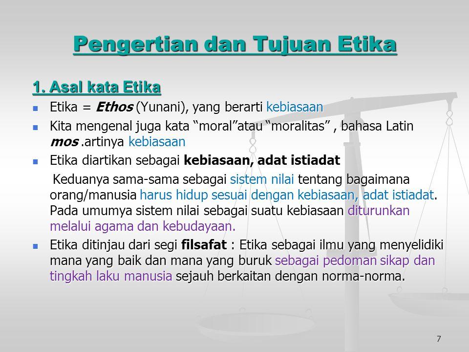 Pengertian dan Tujuan Etika 1.