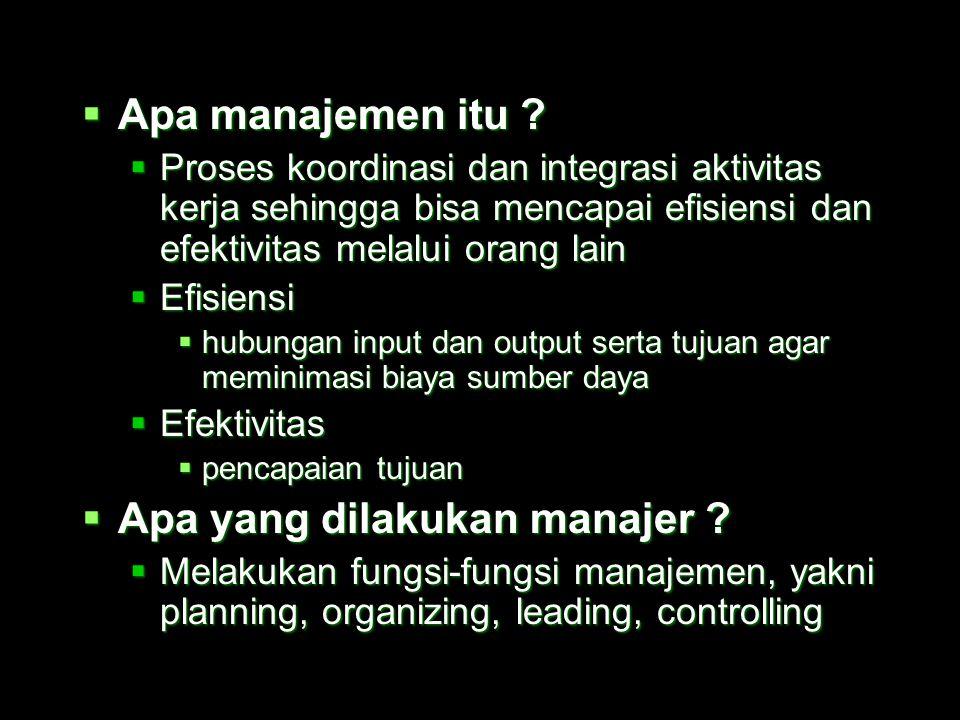  Manajemen perusahaan industri  Beberapa hal penting dalam pembahasan makna manajemen :  siapa manajer itu ?  apa itu manajemen ?  Apa yang dilak