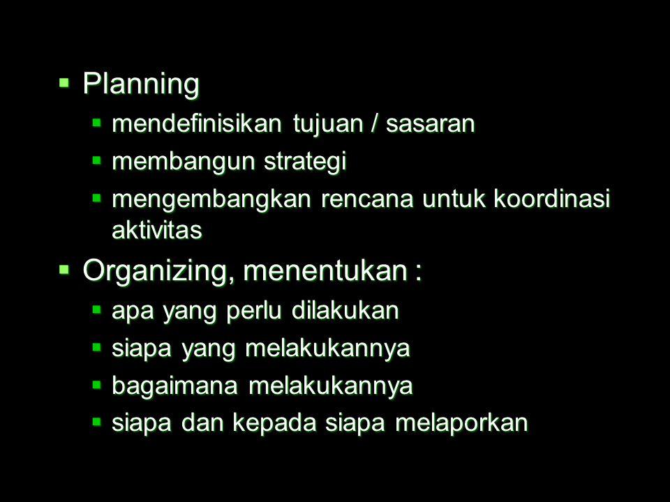  Apa manajemen itu ?  Proses koordinasi dan integrasi aktivitas kerja sehingga bisa mencapai efisiensi dan efektivitas melalui orang lain  Efisiens