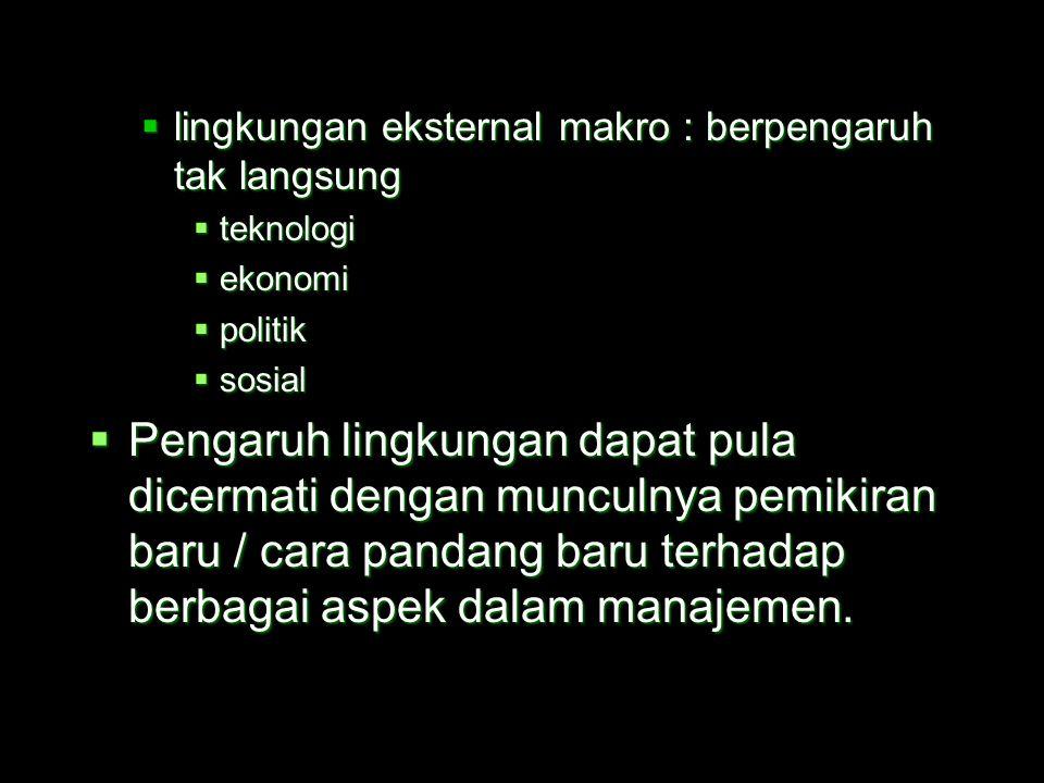  Faktor-faktor lingkungan eksternal :  lingkungan eksternal mikro : berpengaruh langsung  pesaing (tipe, jumlah, posisi)  pemasok (kemampuan, repu