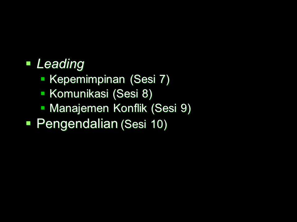  Leading  Kepemimpinan (Sesi 7)  Komunikasi (Sesi 8)  Manajemen Konflik (Sesi 9)  Pengendalian (Sesi 10)