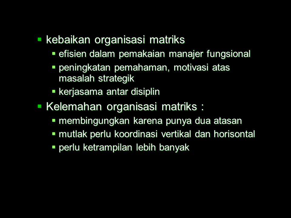  Struktur organisasi lainnya :  struktur organisasi proyek, yakni pembentukan tim / spesialis untuk tujuan khusus  struktur organisasi matriks  ka