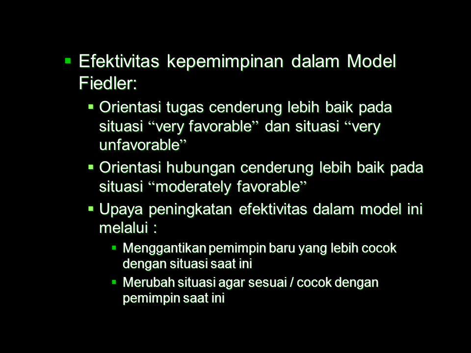  Kelemahan pengukuran Model Fiedler  tidak mengukur 3 dimensi kontingensi, yakni :  Hubungan pemimpin dan anggota (tingkat kepercayaan dan respek b
