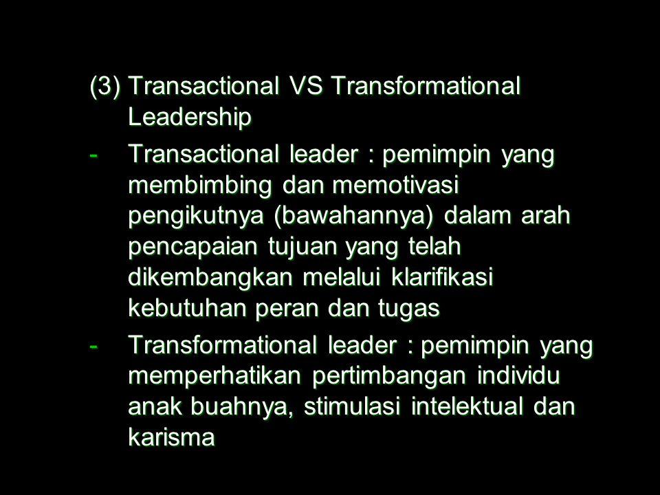  Model Kepemimpinan lainnya (1)Leader Participation Model –Sekelompok aturan yang menentukan bentuk dan jumlah pengambilan keputusan partisipatif pad