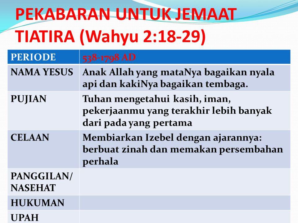 PERIODE538-1798 AD NAMA YESUSAnak Allah yang mataNya bagaikan nyala api dan kakiNya bagaikan tembaga.