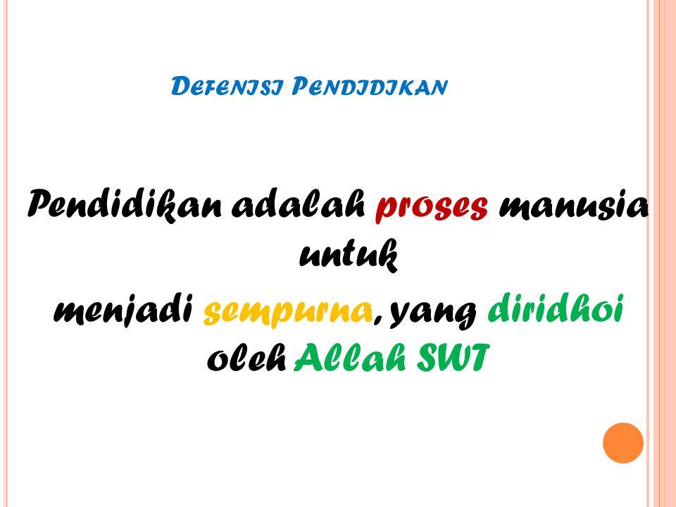 D EFENISI P ENDIDIKAN Pendidikan adalah proses manusia untuk menjadi sempurna, yang diridhoi oleh Allah SWT