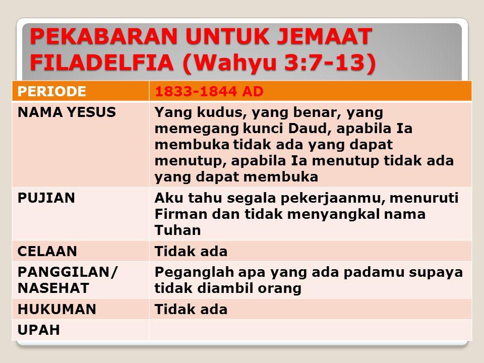 PERIODE1833-1844 AD NAMA YESUSYang kudus, yang benar, yang memegang kunci Daud, apabila Ia membuka tidak ada yang dapat menutup, apabila Ia menutup tidak ada yang dapat membuka PUJIANAku tahu segala pekerjaanmu, menuruti Firman dan tidak menyangkal nama Tuhan CELAANTidak ada PANGGILAN/ NASEHAT Peganglah apa yang ada padamu supaya tidak diambil orang HUKUMANTidak ada UPAH PEKABARAN UNTUK JEMAAT FILADELFIA (Wahyu 3:7-13)