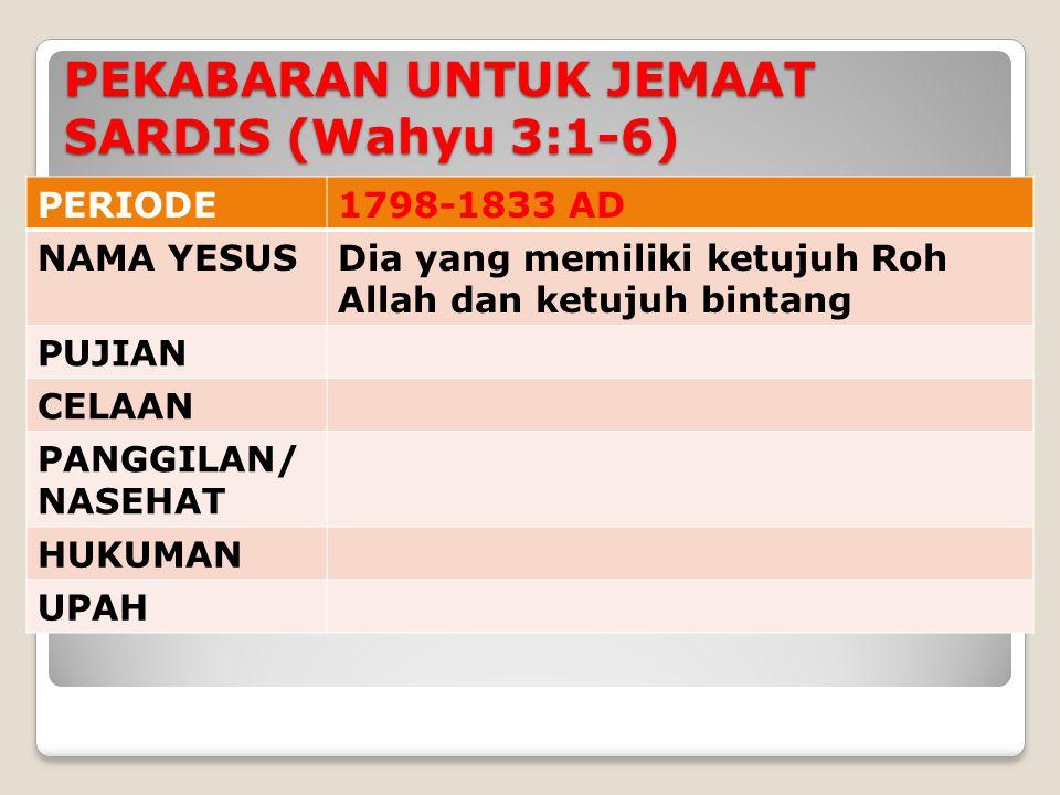 PERIODE1798-1833 AD NAMA YESUSDia yang memiliki ketujuh Roh Allah dan ketujuh bintang PUJIAN CELAAN PANGGILAN/ NASEHAT HUKUMAN UPAH PEKABARAN UNTUK JEMAAT SARDIS (Wahyu 3:1-6)
