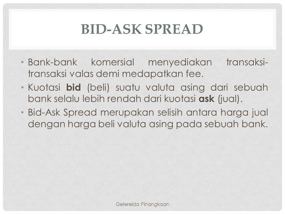 BID-ASK SPREAD Bank-bank komersial menyediakan transaksi- transaksi valas demi medapatkan fee. Kuotasi bid (beli) suatu valuta asing dari sebuah bank