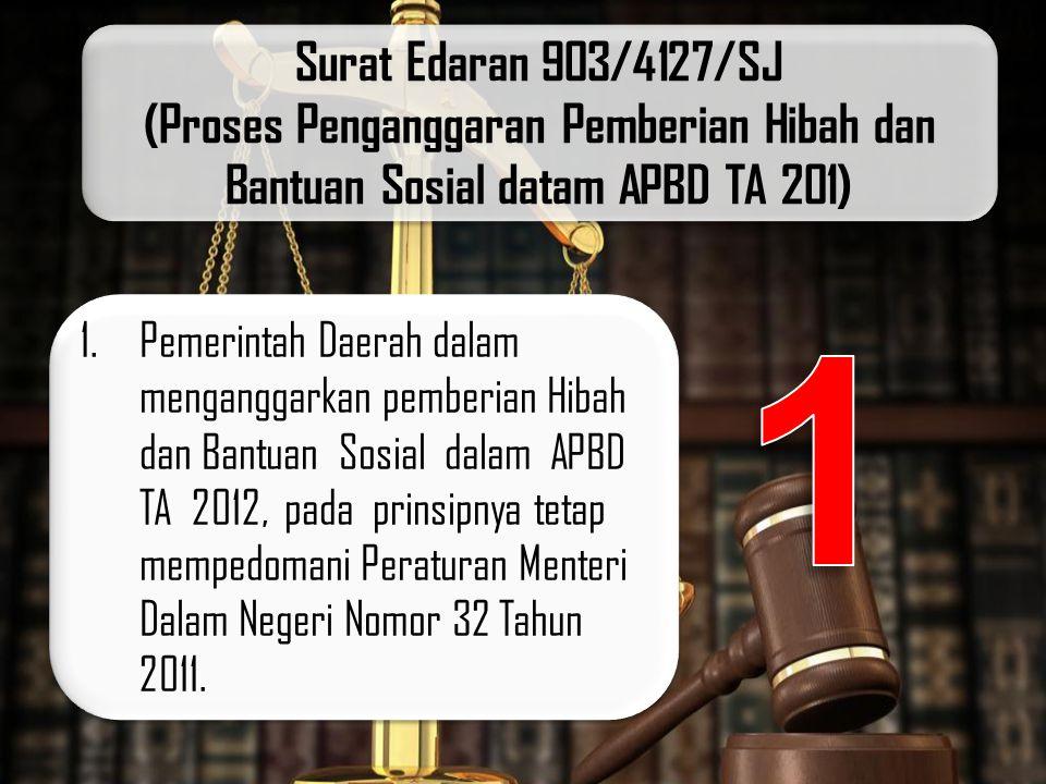 Surat Edaran 903/4127/SJ (Proses Penganggaran Pemberian Hibah dan Bantuan Sosial datam APBD TA 201) 1.Pemerintah Daerah dalam menganggarkan pemberian