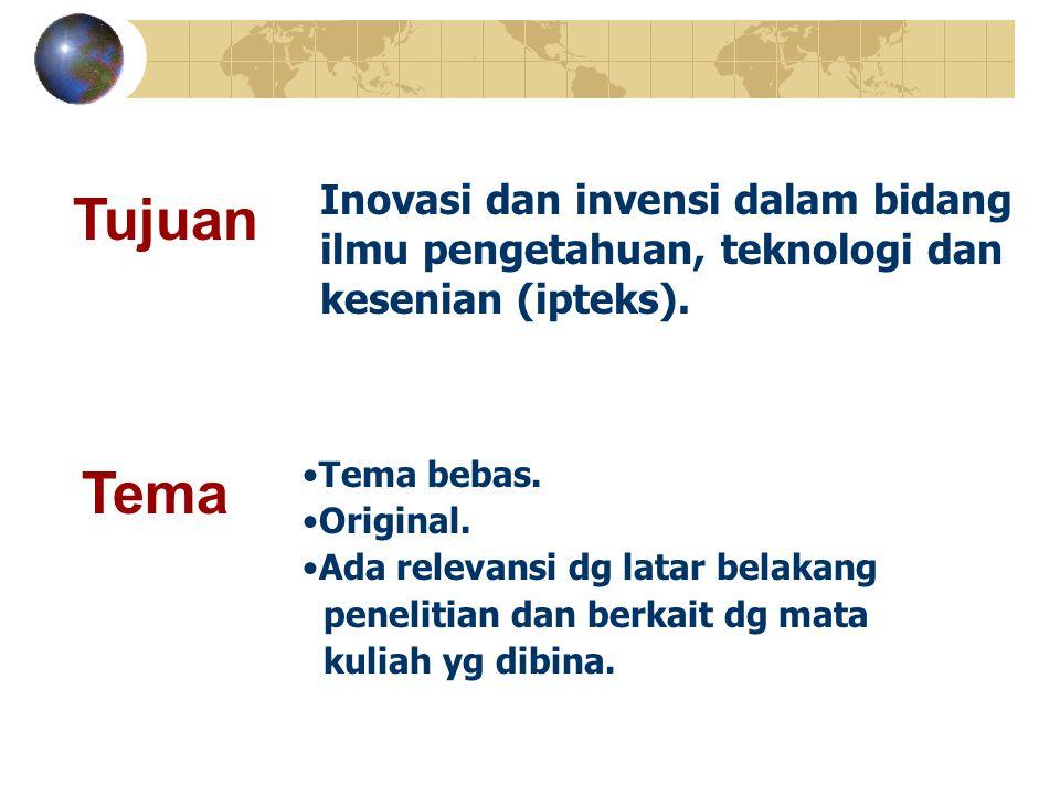 Tema bebas. Original. Ada relevansi dg latar belakang penelitian dan berkait dg mata kuliah yg dibina. Tujuan Tema Inovasi dan invensi dalam bidang il